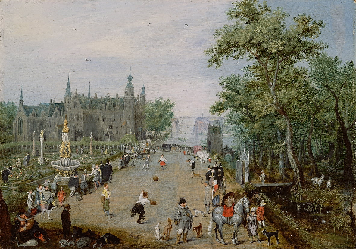 A Jeu de Paume Before a Country Palace - Adriaen van de Venne