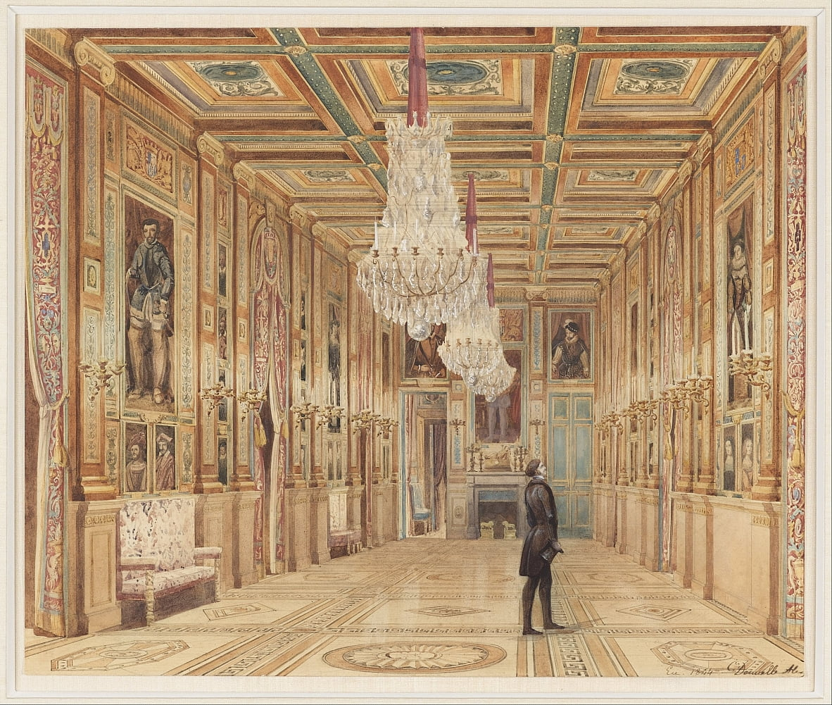View of the Picture Gallery at the Château dEu (Vue de la Galerie au Château dEu) - Alexandre Dominique Denuelle