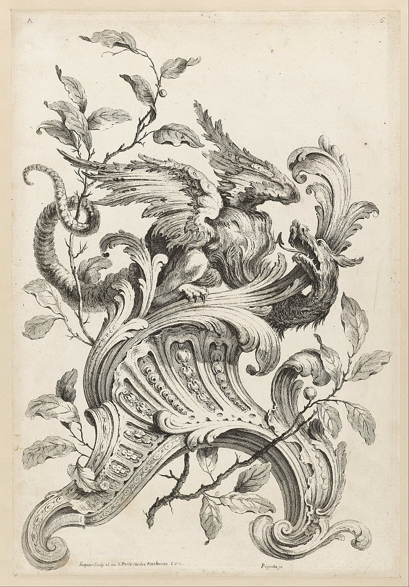 Winged Griffon on a Rocaille Bracket, from Premiere Partie Diverse Ornements - Alexis Peyrotte