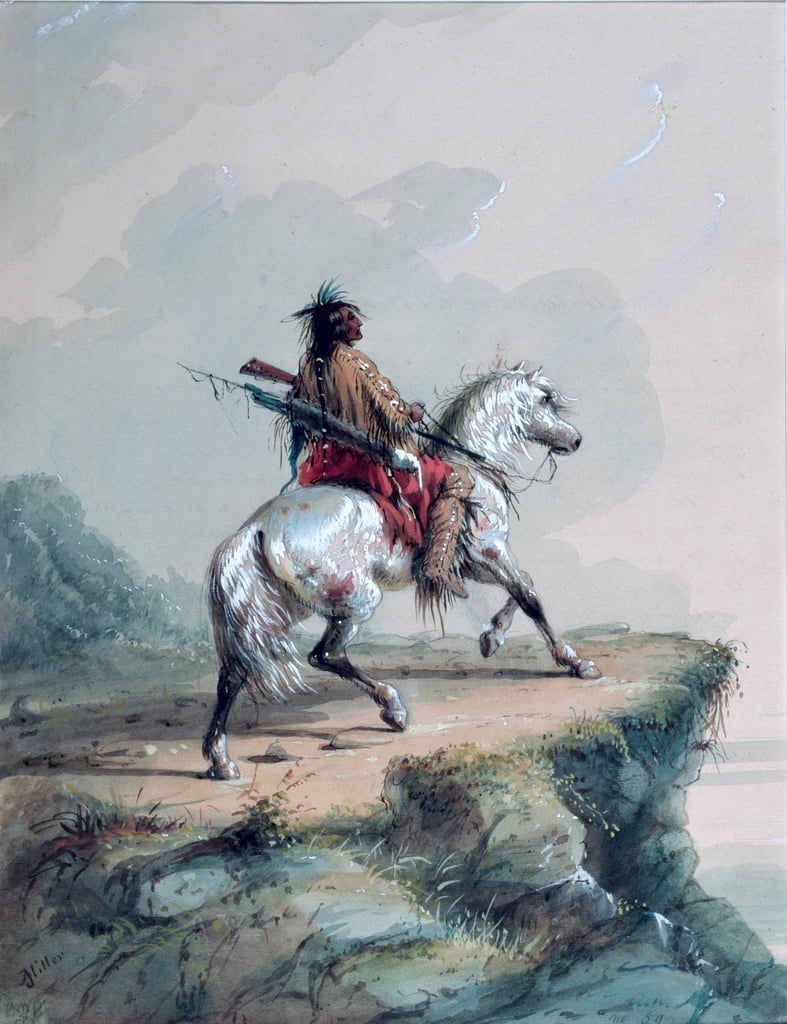 Crow Indian sur le belvédère - Alfred Jacob Miller