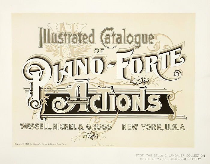 Catalogue illustré d'actions Piano-Forte, Wessell, Nickel & Gross Co. - couverture, 1893 - American School