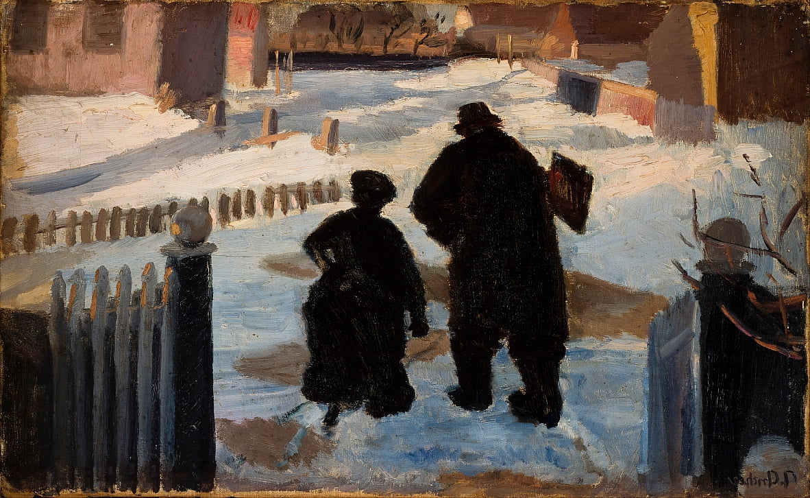 Michael Ancher en route pour son studio accompagné par lorganiste Helene Christensen - Anna Ancher