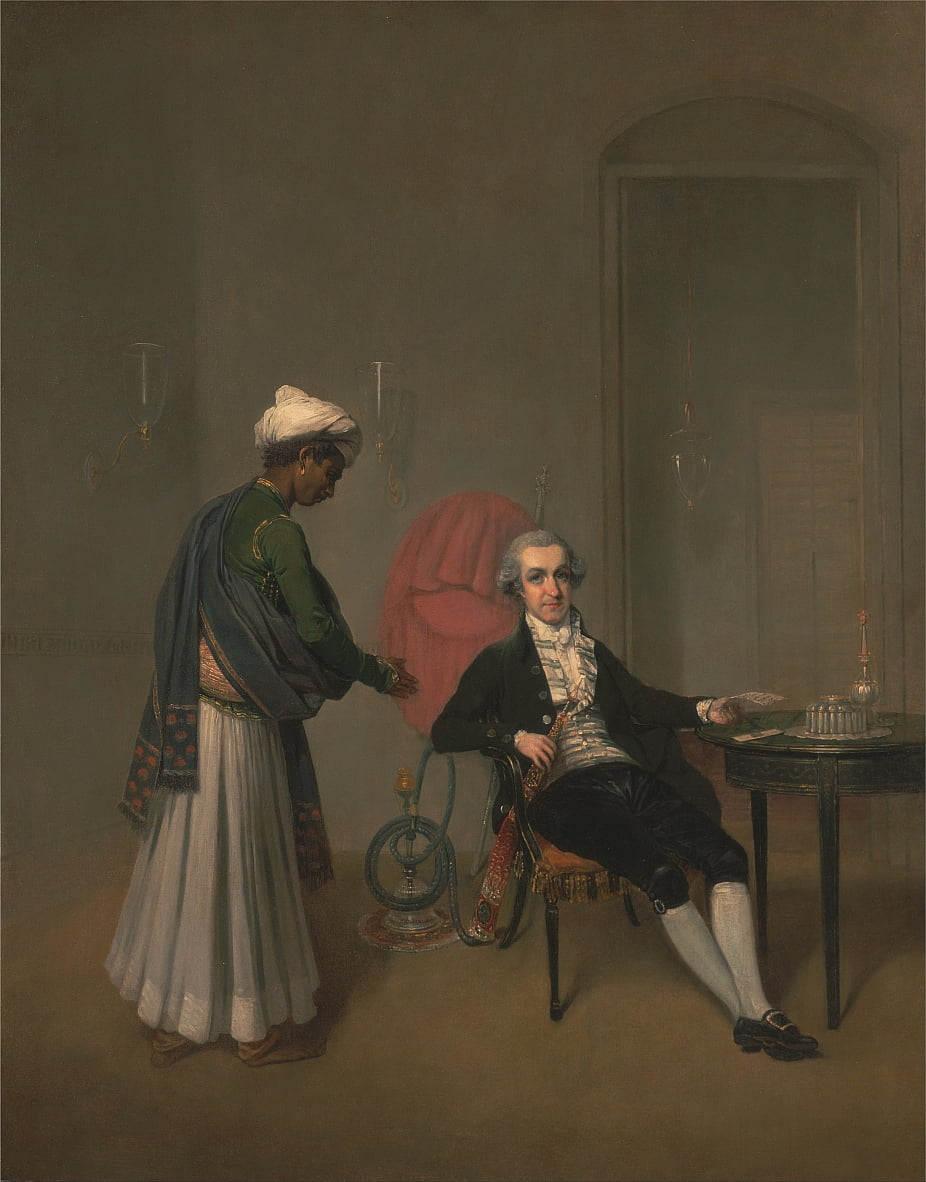 Portrait dun gentilhomme, peut-être William Hickey, et un serviteur indien - Arthur William Devis