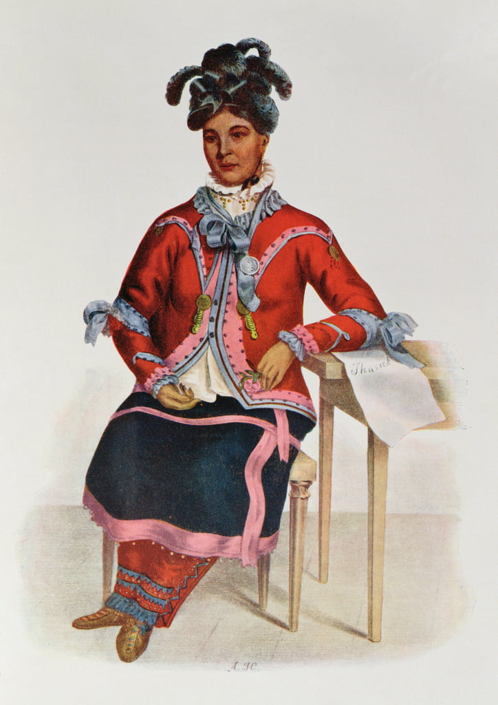 Tshusik, une femme Chippeway, 1827, illustration de &39;The Indian Tribes of North America, Vol.1&39;, de Thomas L. McKenney et James Hall, pub. Par John Grant - Charles Bird King