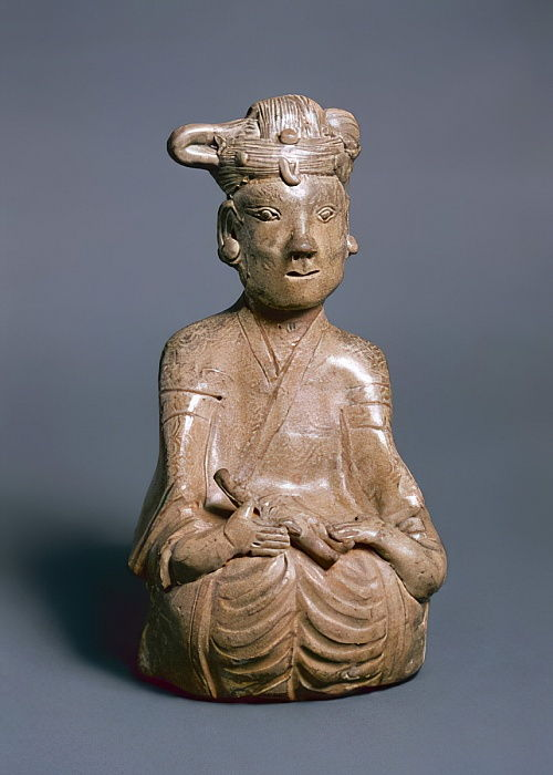Figure assise, Jin occidental, 265-316 (greenware) - Chinese School