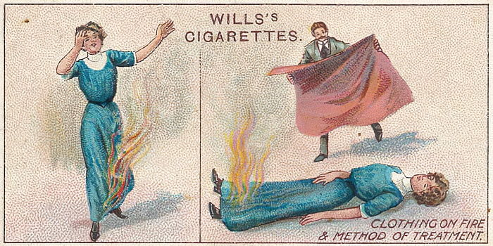 Clothing on Fire, n ° 34 de la série First Aid des cartes Willss Cigarettes, 1913 - English School