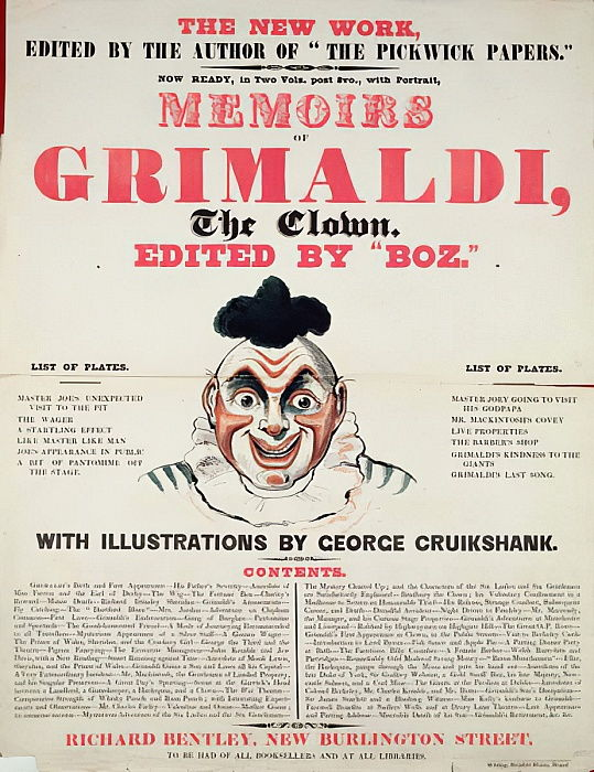 Mémoires de Grimaldi le clown, avec des illustrations de George Cruikshank, 1888 litho) - English School