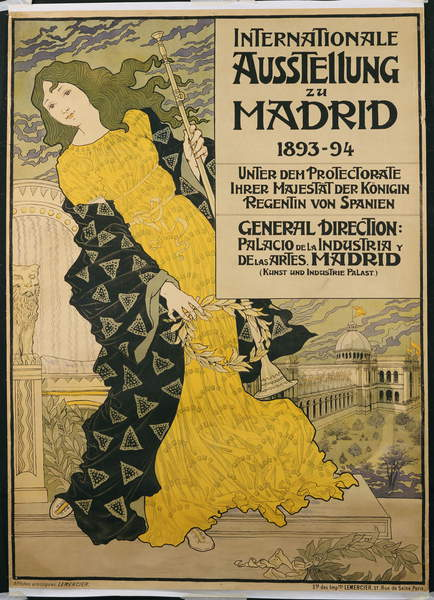 "Affiche publicitaire ""Exposition internationale de Madrid"", 1893 - Eugene Grasset"