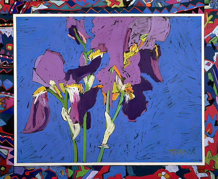 Flag Irises (collage au pastel à l'huile et à la craie) - Frances Treanor