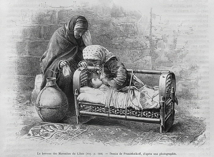 Cradle to the Maronites, from La Syrie daujourdhui. Voyages dans la Phenicie, le Liban et la Judee. 1875-1880 of Louis Charles Emile Lortet, 1884 (bw engraving) - French School