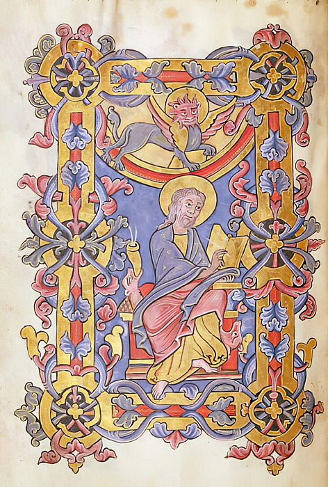 Ms 479 fol.53 St. Mark, from Les Evangiles de lAbbaye de Cysoing  - French School