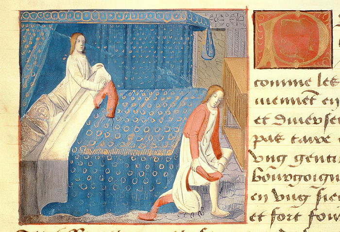 Ms Hunter 252 f.20v Bed scene, from Les Cent Nouvelles Nouvelles, 1462  - French School
