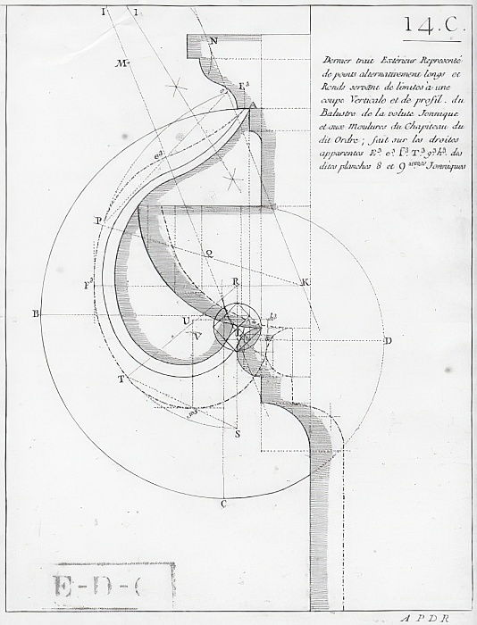 The ionic capital, illustration from a book on geometry, published Avec Privilege du Roy et E.. du Gouvernement   - French School