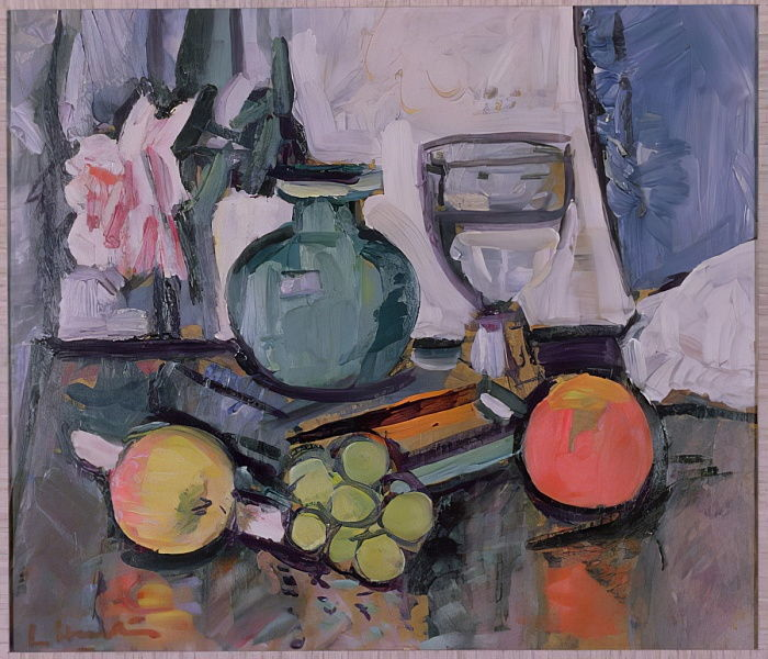 Nature morte, rose et fruit - George Leslie Hunter