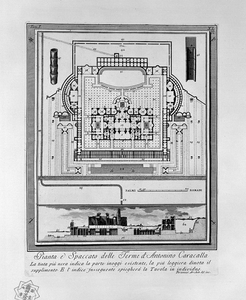 Plan des thermes de Caracalla (Rome) - Giovanni Battista Piranesi