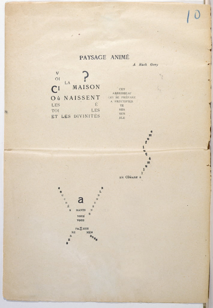 Proofing copy of a page from Et Moi Aussi Je Suis Peintre, 1914 (ink on paper) - Guillaume Apollinaire
