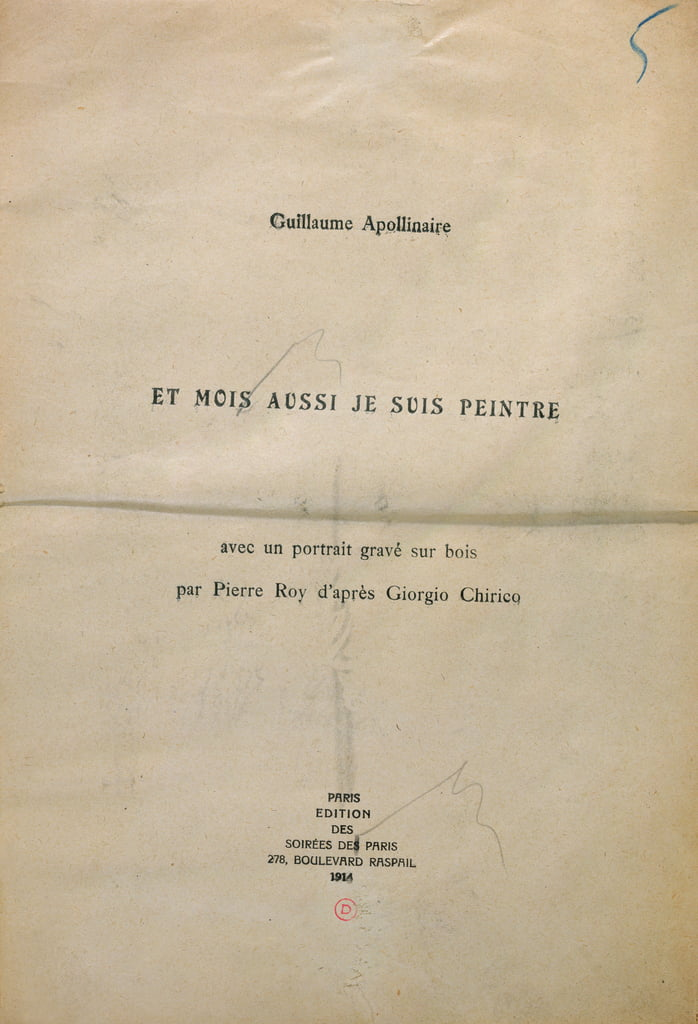 Proofing copy of the frontispiece of Et Moi Aussi Je Suis Peintre, 1914 (ink on paper) - Guillaume Apollinaire