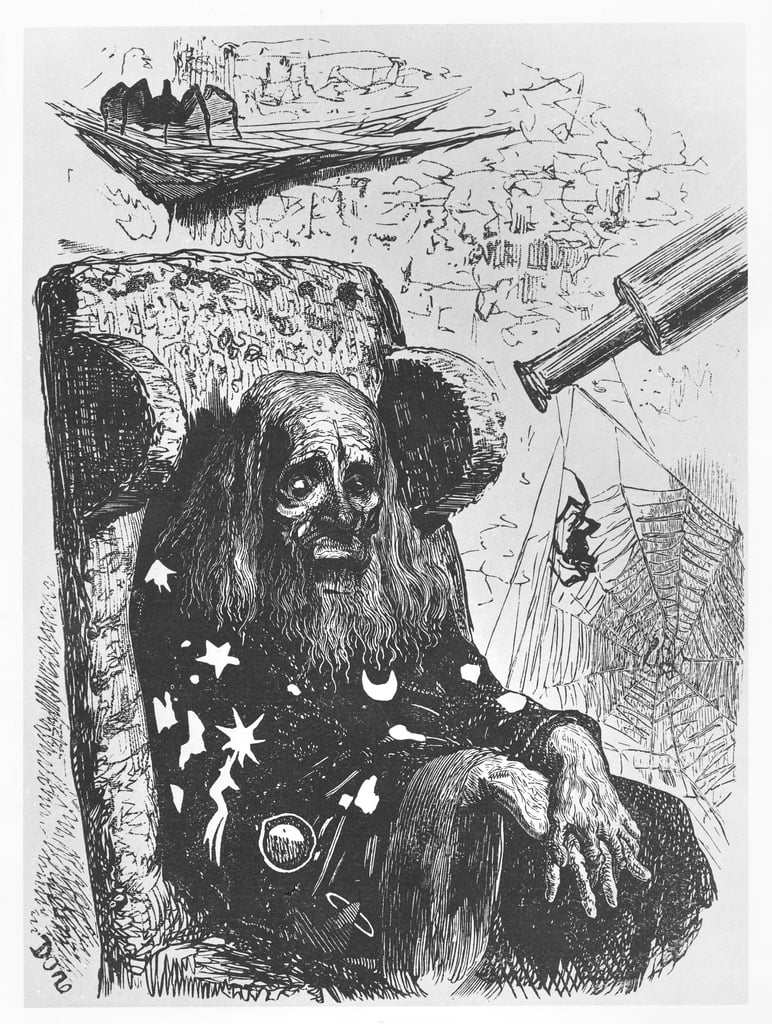 The astrologer Herr Trippa, illustration from Gargantua and Pantagruel, by François Rabelais  - Gustave Dore
