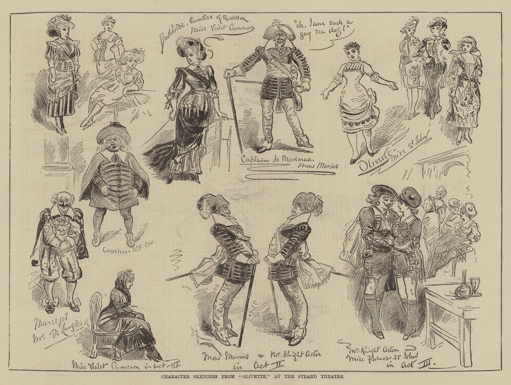 Croquis de personnages d&39;Olivette, au Strand Theatre - Harry Furniss