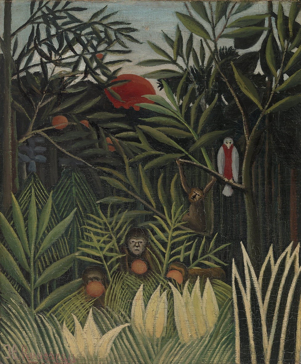 Monkeys and Parrot in the Virgin Forest (Singes et perroquet dans la forêt vierge) - Henri Rousseau