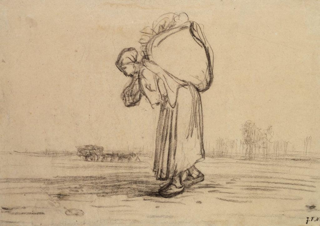 5739e33011 Femme portant un sac sur le dos (crayon noir sur papier)