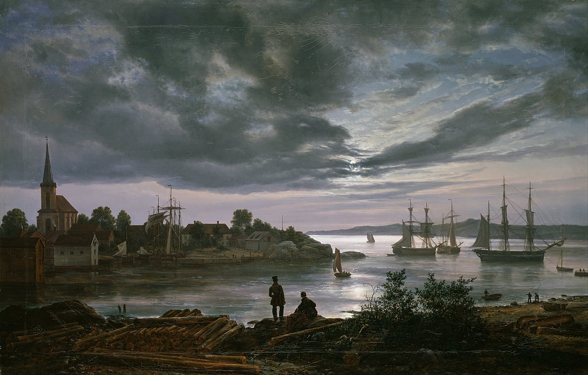 Larvik City Moonlight - Johan Christian Dahl