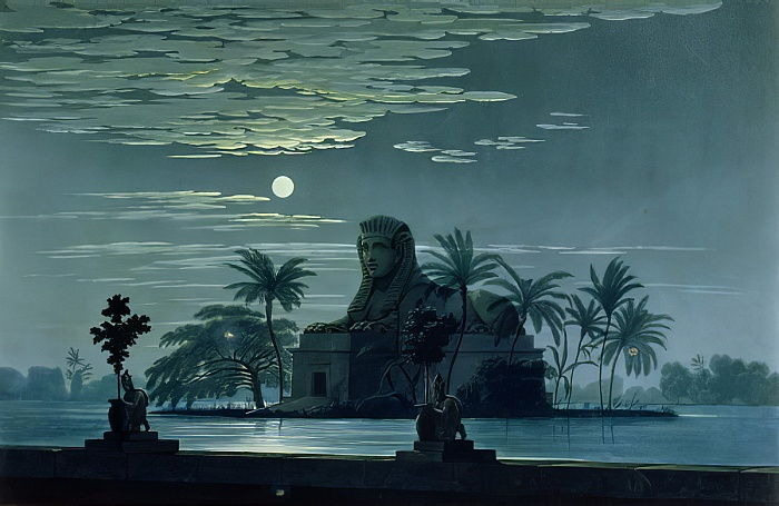 Scène de jardin avec le Sphinx au clair de lune, Act II scène 3, scénographie pour 'The Magic Flute' de Wolfgang Amadeus Mozart (1756-91) pour l'opéra de Berlin, 1816, - Karl Friedrich Schinkel