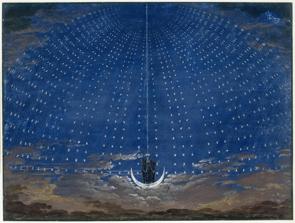 Scène mise en scène pour la reine de la nuit (dans la flûte enchantée de Mozart) - Karl Friedrich Schinkel