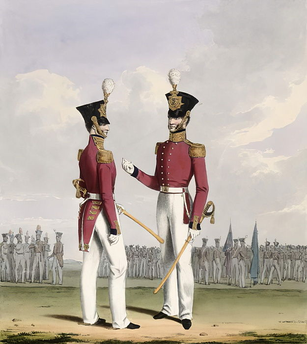 Officiers de campagne des Royal Marines, planche 2 du &39;Costume de la Royal Navy and Marines&39;, gravé par les artistes, c.1830-37 - L. and Eschauzier, St. Mansion