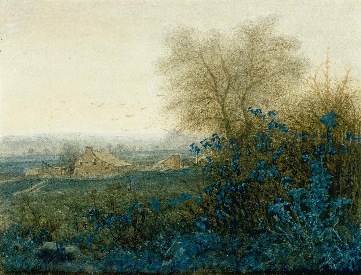 Paysage avec une ferme et un paysan roulant une brouette - Léon Bonvin