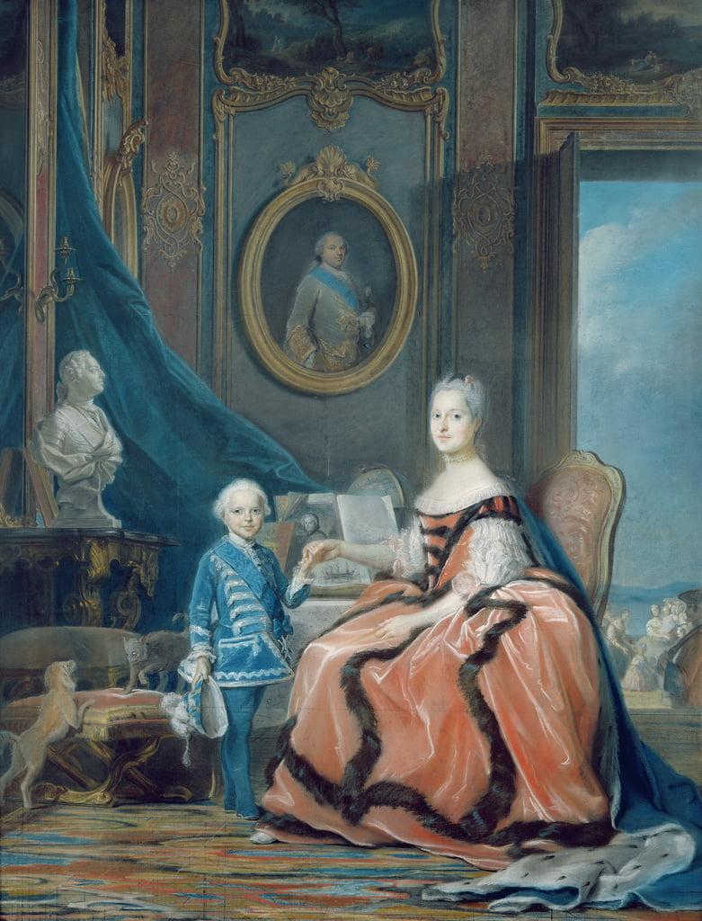 Portrait de Marie-Josephe de Saxe (1731-67) Dauphine de France et son fils Louis Joseph Xavier de France (1751-61) Duc de Bourgogne, c.1760-61 (pastel) - Maurice Quentin de La Tour