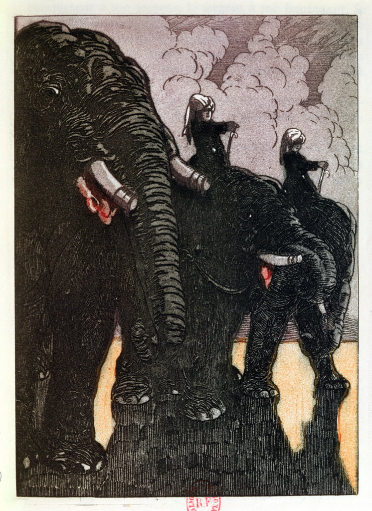 La garde de la reine, illustration tirée de «The Jungle Book» de Rudyard Kipling (1865-1936), publiée à Paris en 1930 - Maurice de Becque