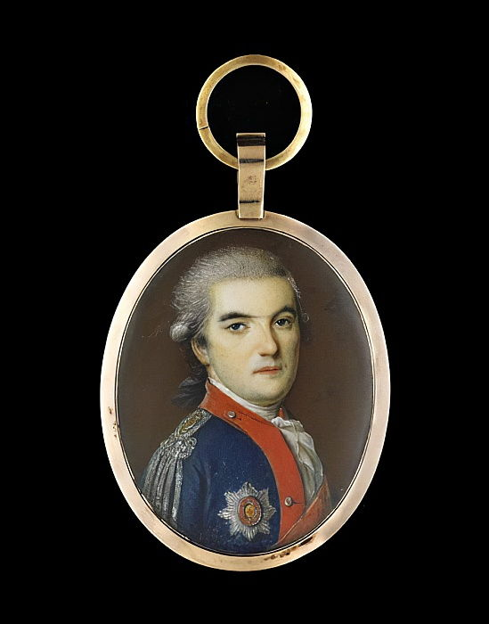 Portrait miniature d'un officier (wc) - Russian School