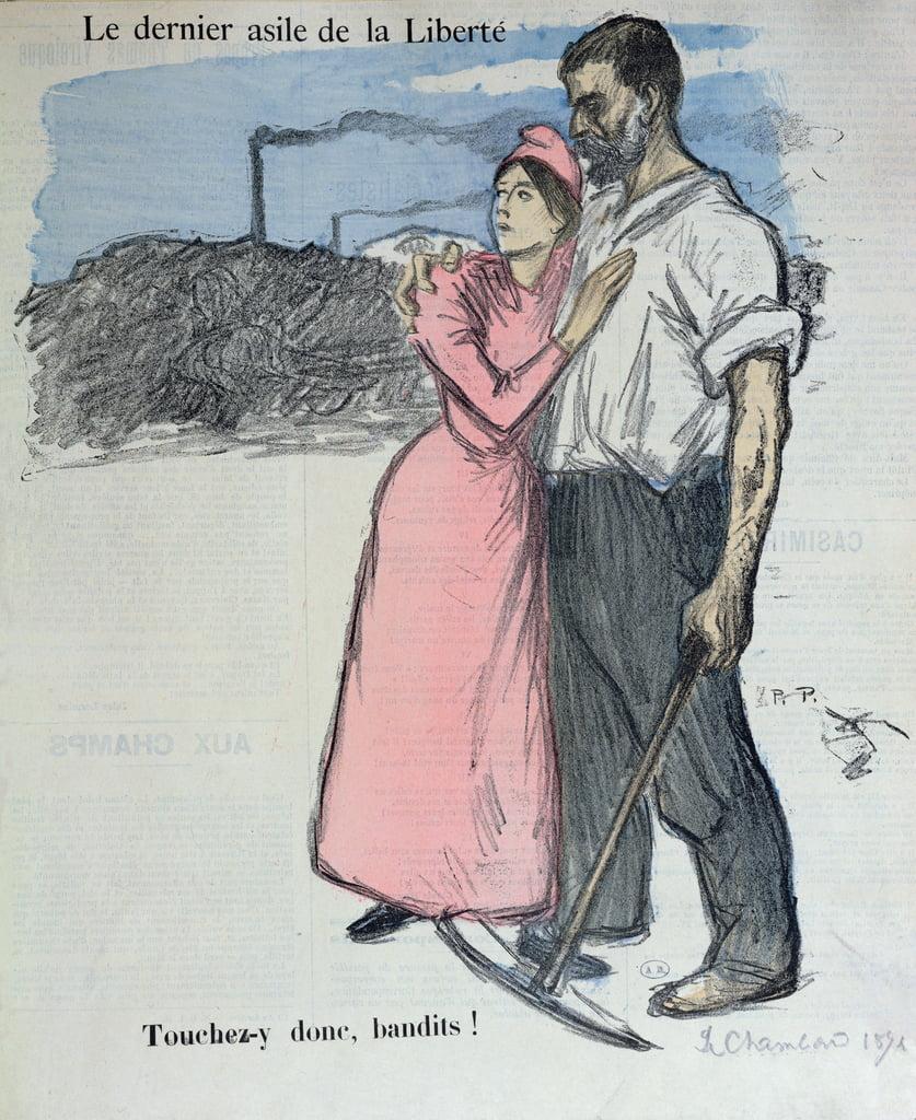 Marianne avec un ouvrier, illustration de &39;Le Chambard Socialiste&39; 1891 - Théophile Alexandre Steinlen