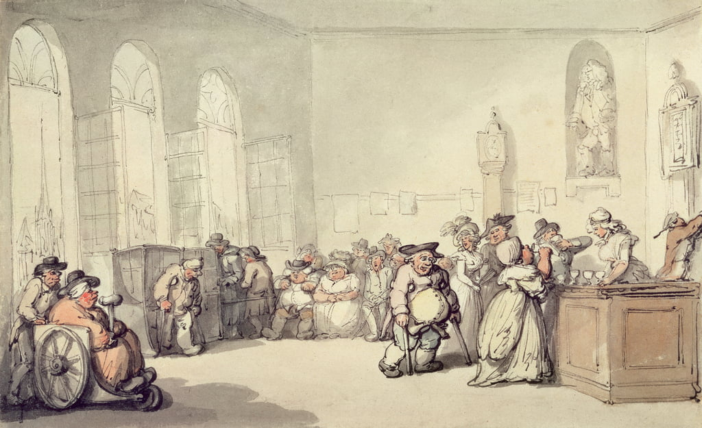 The Pump Room, de «Scenes at Bath», c.1795 (wc et stylo et encre sur papier) - Thomas Rowlandson
