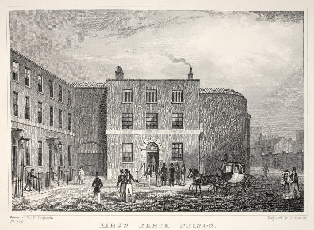 King&39;s Bench Prison, St George&39;s Fields, du pub &39;London and it&39;s Environs in the 19th Century&39;. Jones und Co., 1827-1829 - Thomas Hosmer Shepherd