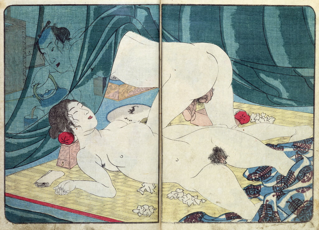 Une impression &39;Shunga&39; (érotique): &39;All Passion Spent - La femme satisfaite&39;, c.1855, (color woodblock) - Utagawa Kuniyoshi