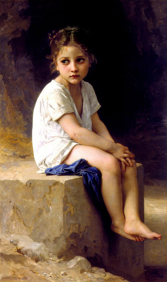 Au pied de la falaise - William Adolphe Bouguereau