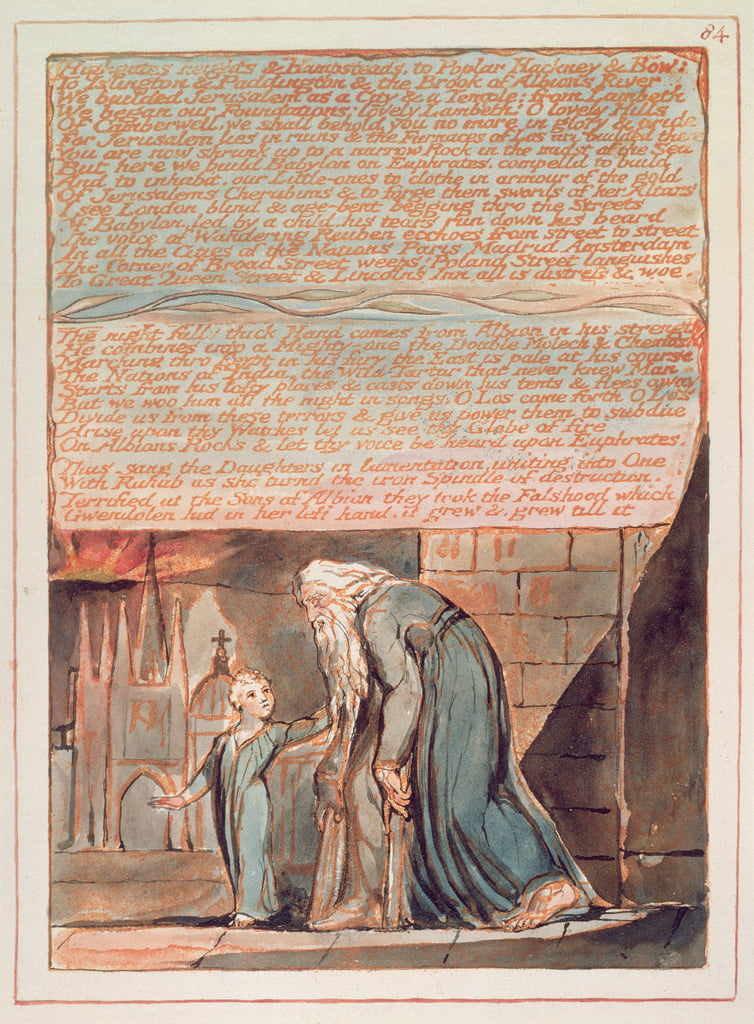 Jérusalem 'Highgates heights und Hampstead ..', planche 84, extrait de 'Jérusalem l'Emanation du Géant Albion' de William Blake (1757-1827), 1804-20 (gravure en relief avec plume, wc et or) - William Blake