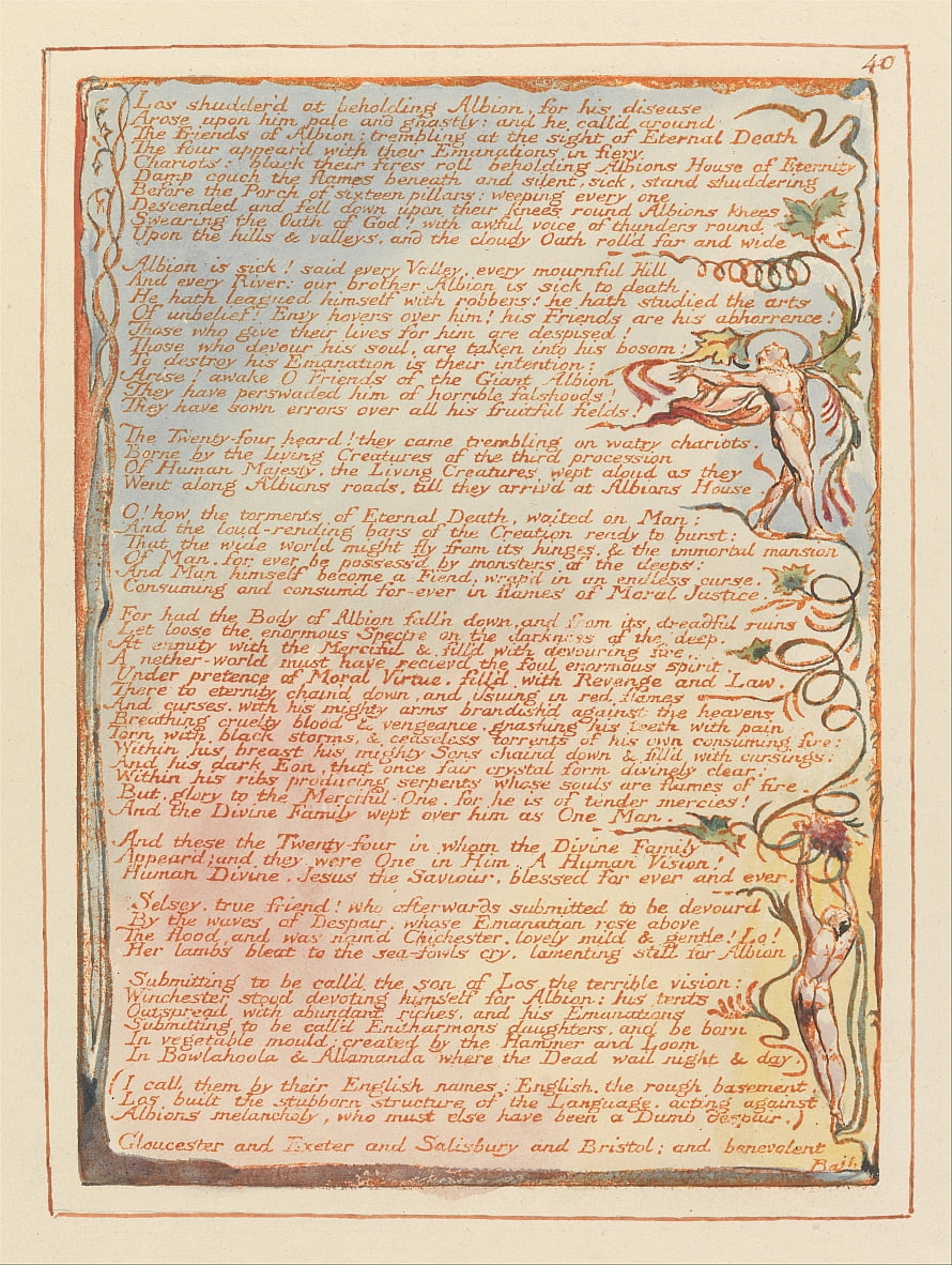 Jérusalem, planche 40, Los frissonnent à la vue dAlbion .... - William Blake