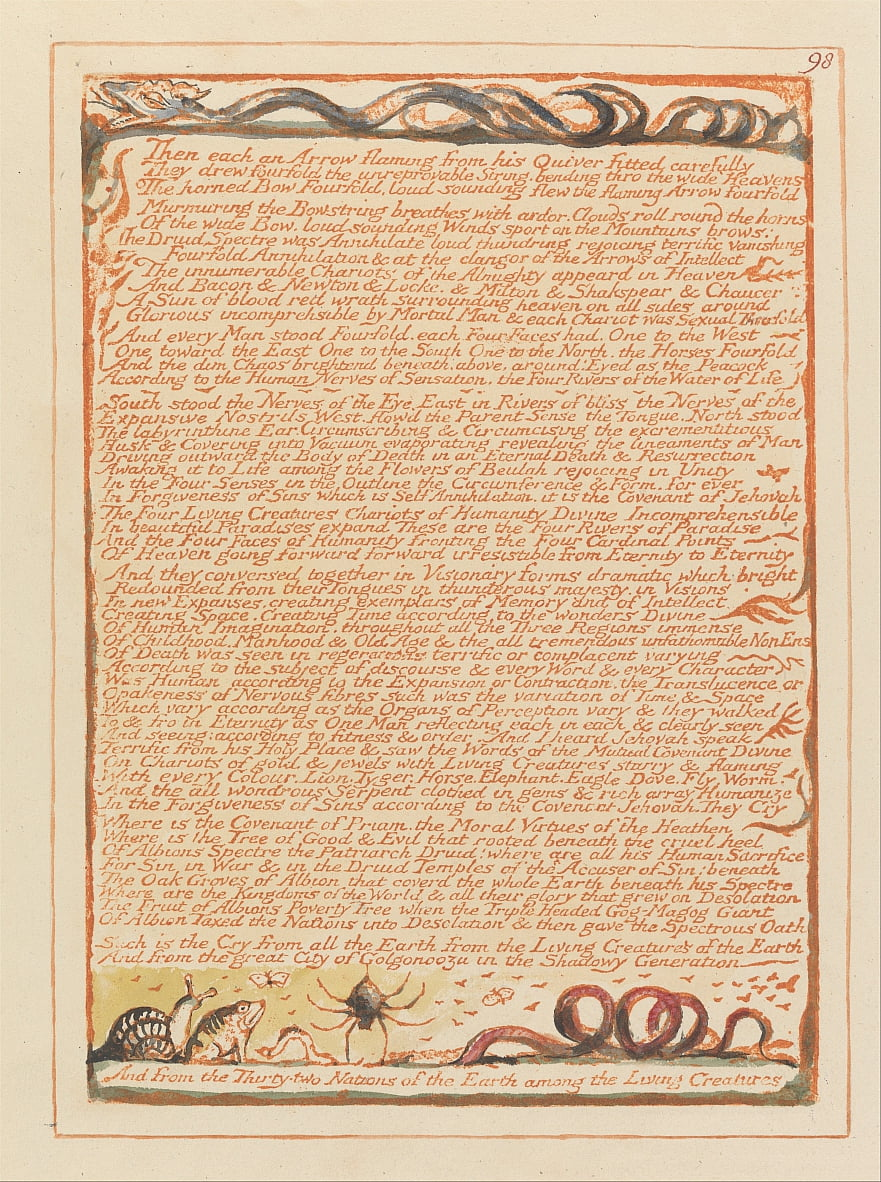 Jérusalem, planche 98, - William Blake
