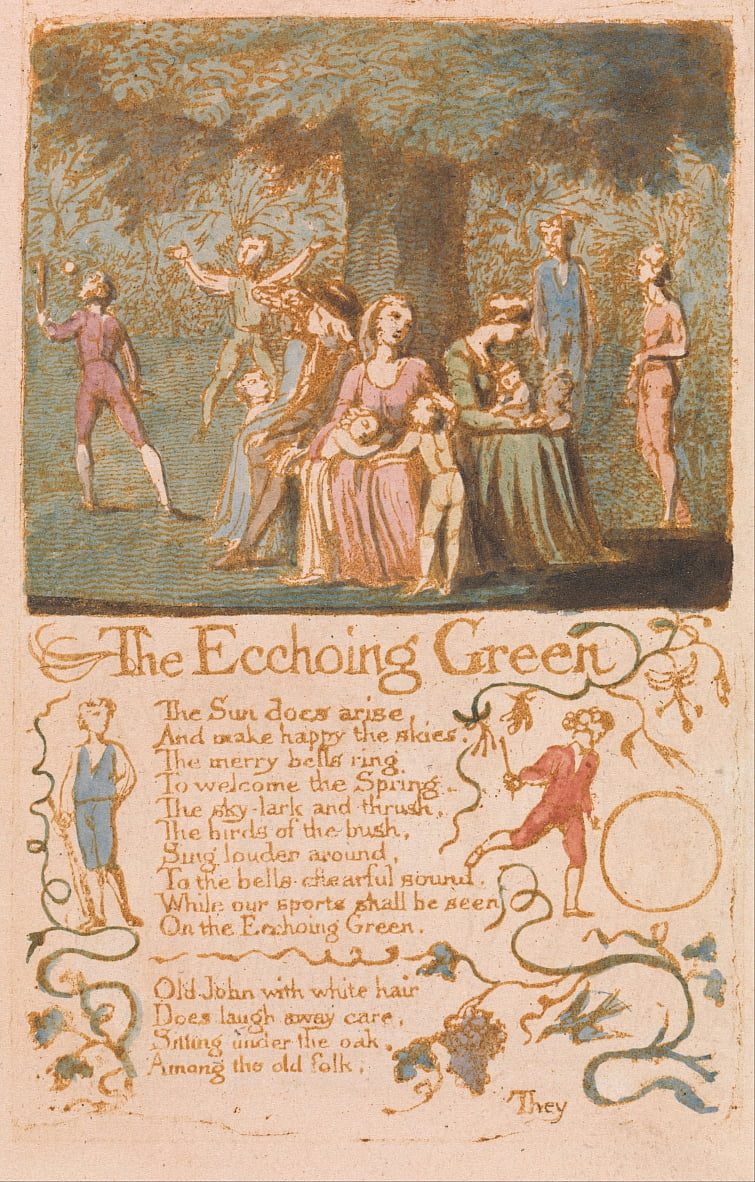 Chansons dinnocence, planche 10, The Ecchoing Green (Bentley 6) - William Blake