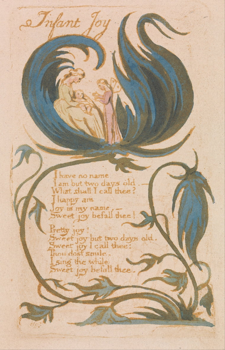 Chansons dinnocence, planche 14, Infant Joy (Bentley 25) - William Blake