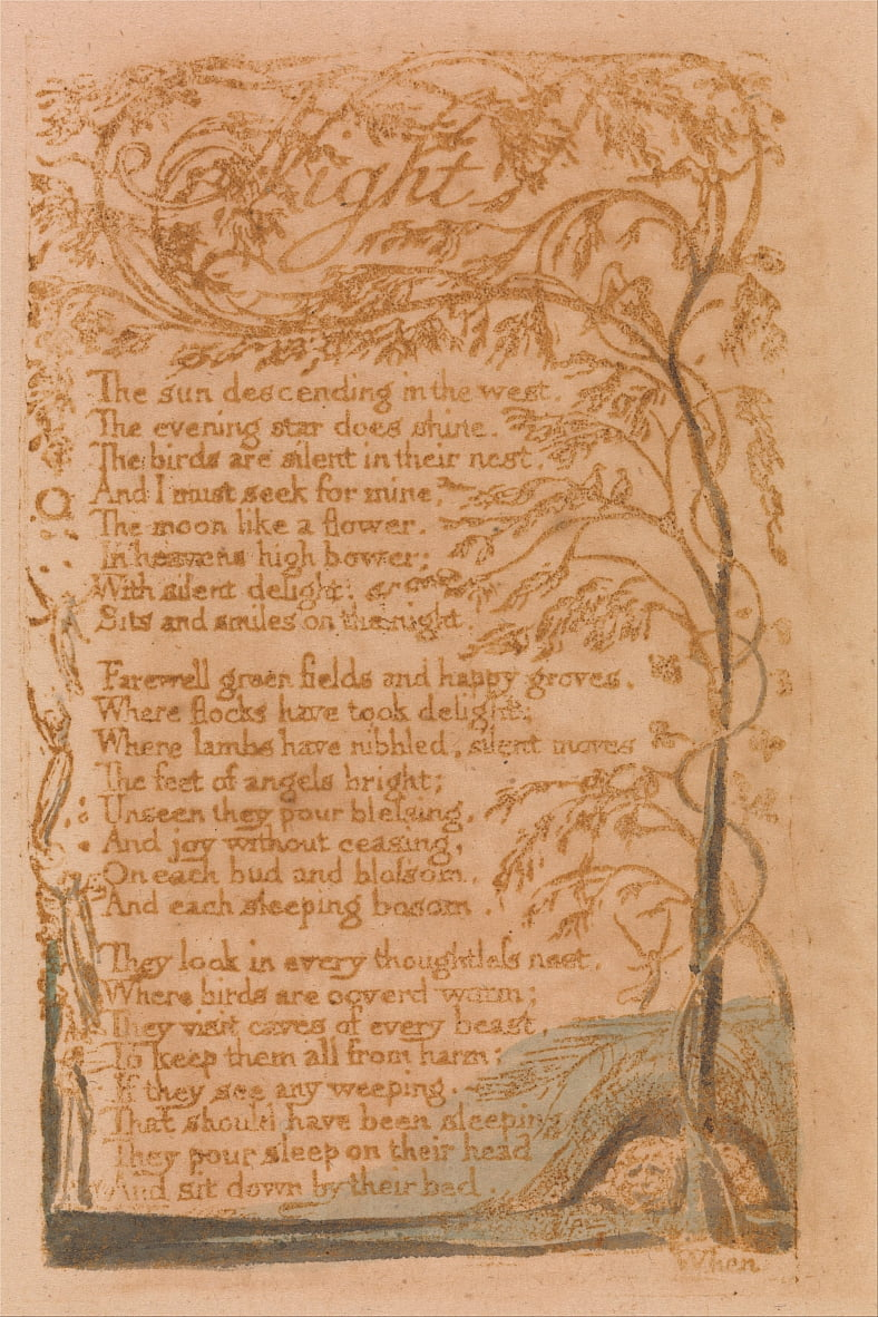 Songs of Innocence, Planche 16, Nuit (Bentley 20) - William Blake