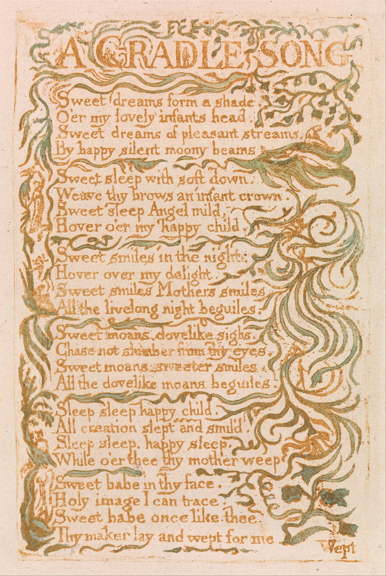 Songs of Innocence, Planche 18, Une Chanson Cradle (Bentley 16) - William Blake