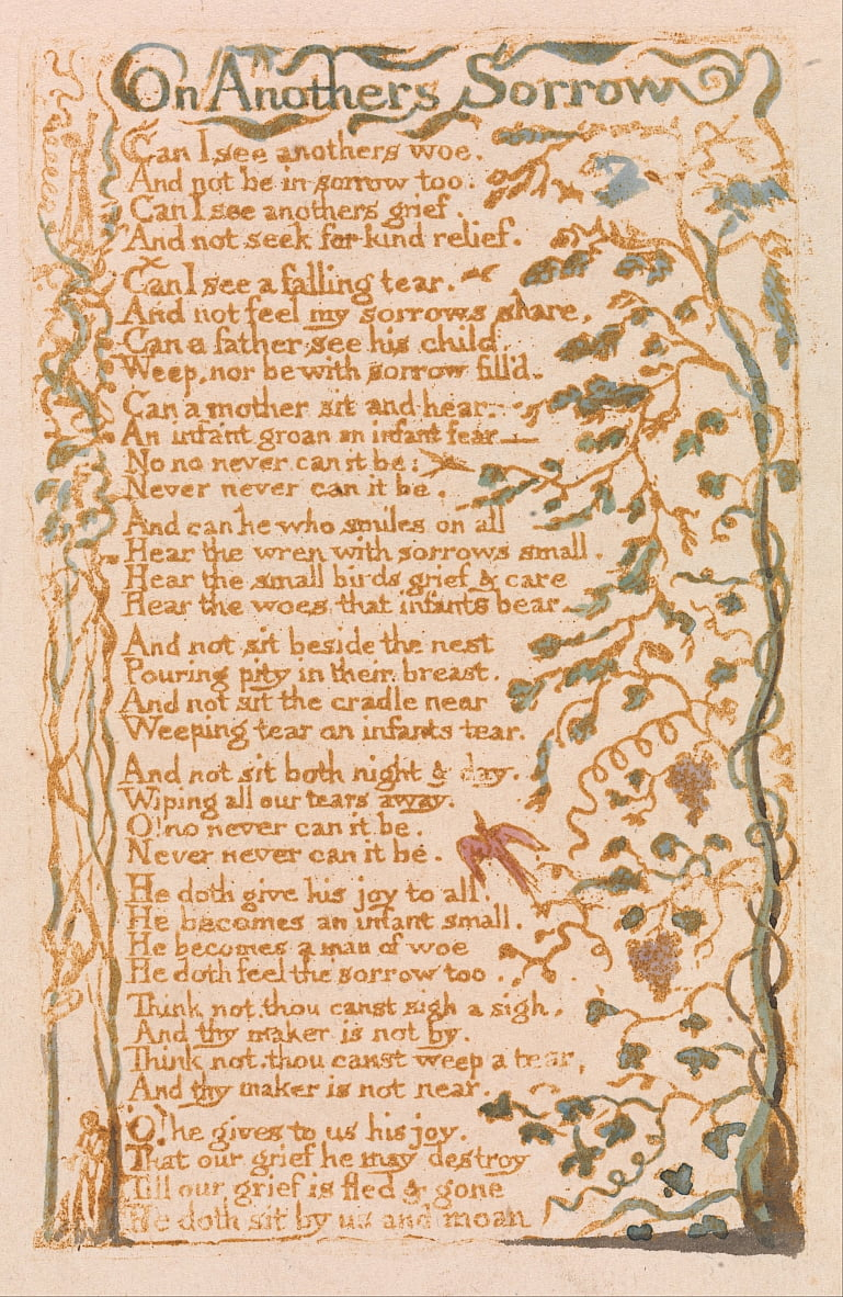 Songs of Innocence, Planche 24, Sur les autres chagrins (Bentley 27) - William Blake