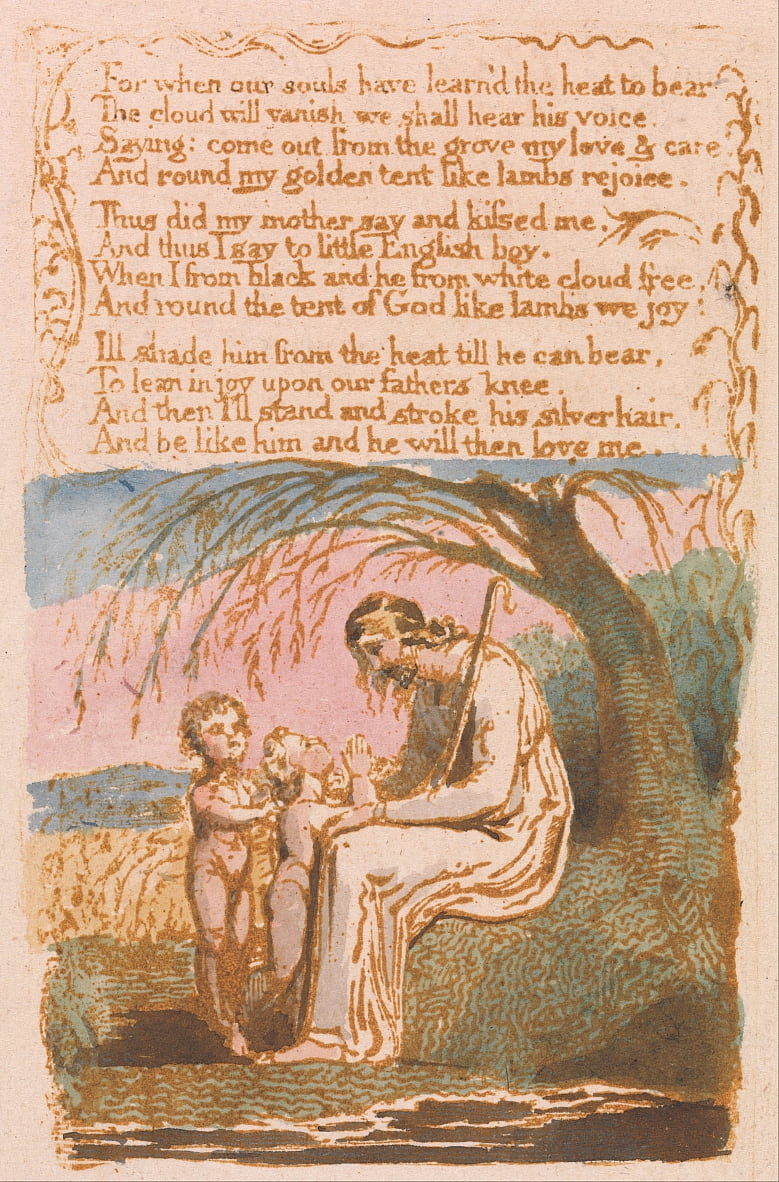 Songs of Innocence, Planche 30, Le petit garçon noir (Bentley 10) - William Blake