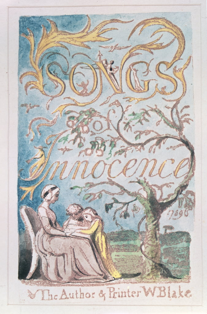 Chansons d&39;innocence; Page de titre, 1789 (gravure en relief teintée à l&39;aquarelle) - William Blake