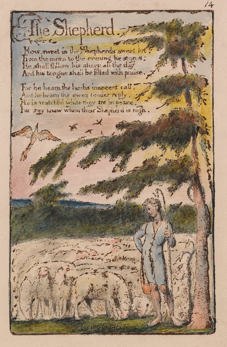 Chansons dinnocence et dexpérience, planche 14, le berger (Bentley 5) - William Blake