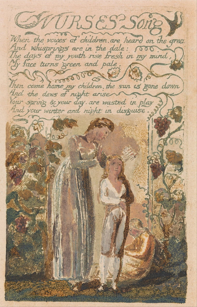 Chansons dinnocence et dexpérience, Planche 37, Nurses Song (Bentley 38) - William Blake